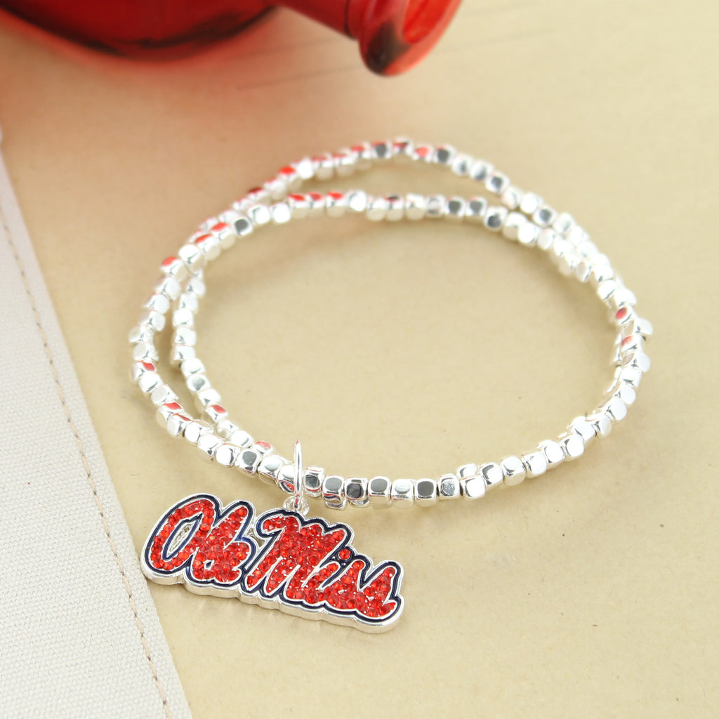 Mississippi Crystal Logo Stretch Bracelet