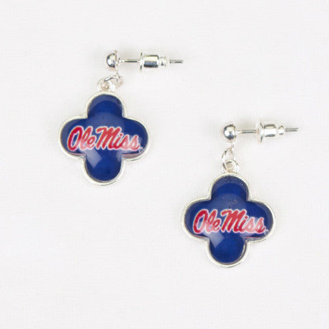 Seasons Jewelry Collegiate Mississippi Quatrefoil Earrings