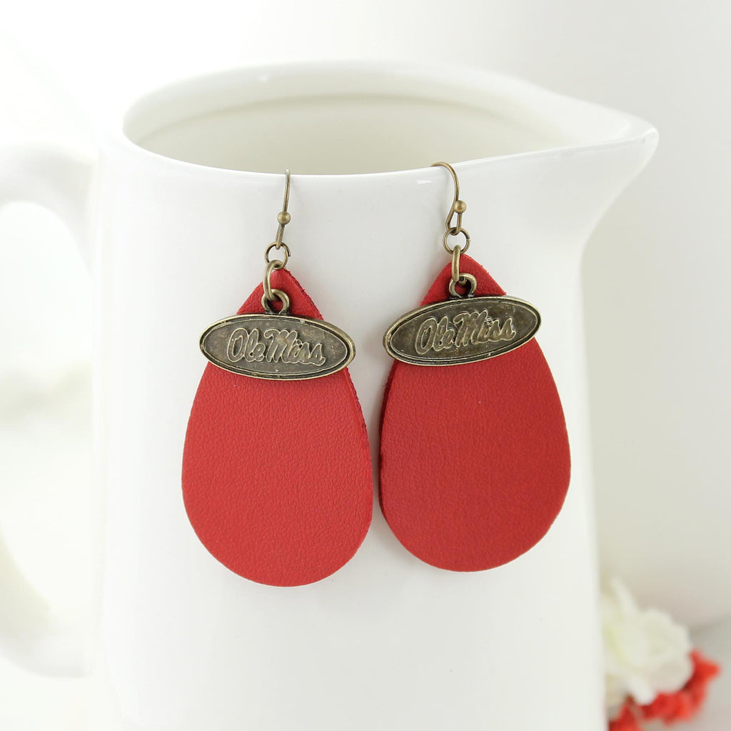 Mississippi Vintage Style Logo Leather Teardrop Earrings