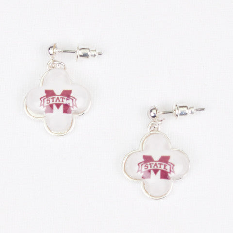 Seasons Jewelry Collegiate Mississippi State Quatrefoil Earrings