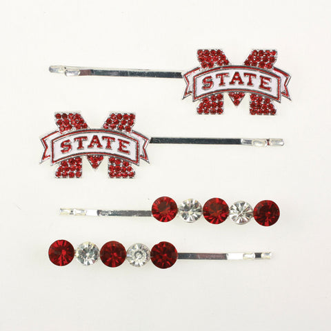 Seasons Jewelry Mississippi State Crystal Logo Hair Pin Set