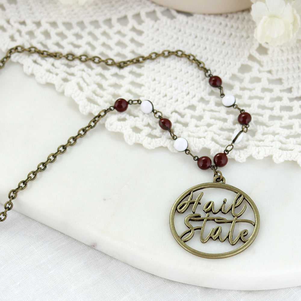 "34"" Mississippi State Vintage Style Cutout Slogan Necklace"