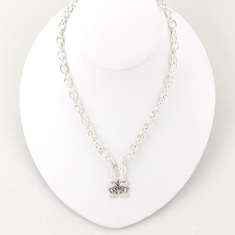 Mississippi State Silver Logo Chain Necklace