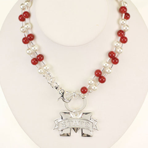 Seasons Jewelry Mississippi State Beaded Logo Necklace