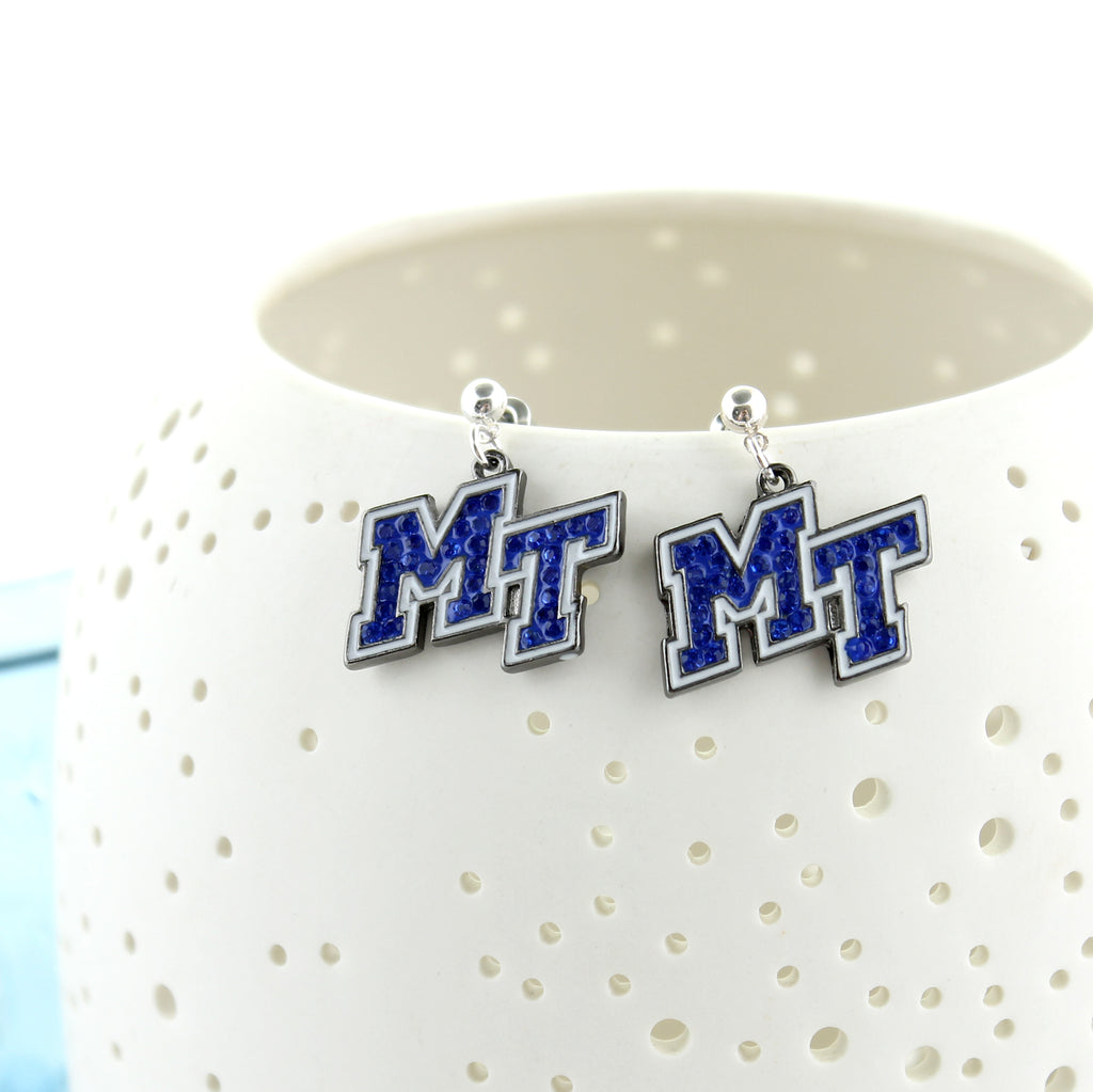 MTSU Crystal Logo Earrings