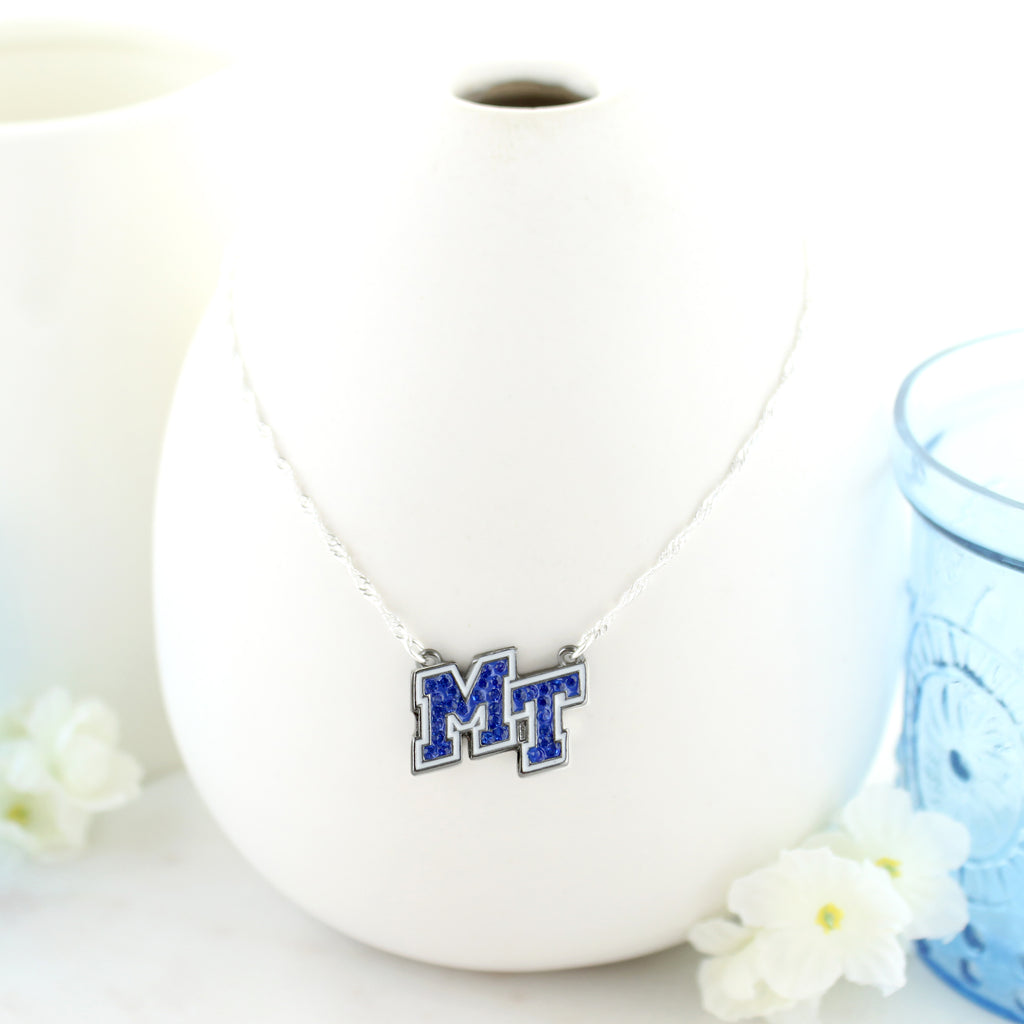 MTSU Crystal Logo Necklace