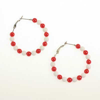 Seasons Jewelry NC State Beaded Hoop Earrings