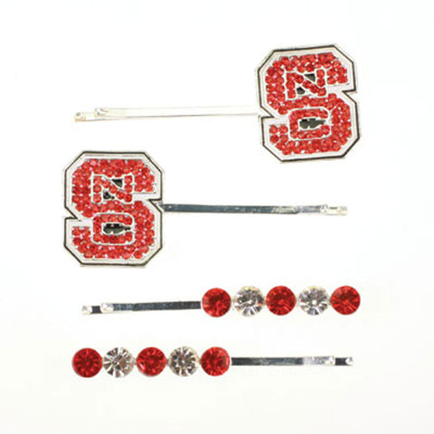Seasons Jewelry NC State Crystal Logo Hair Pin Set