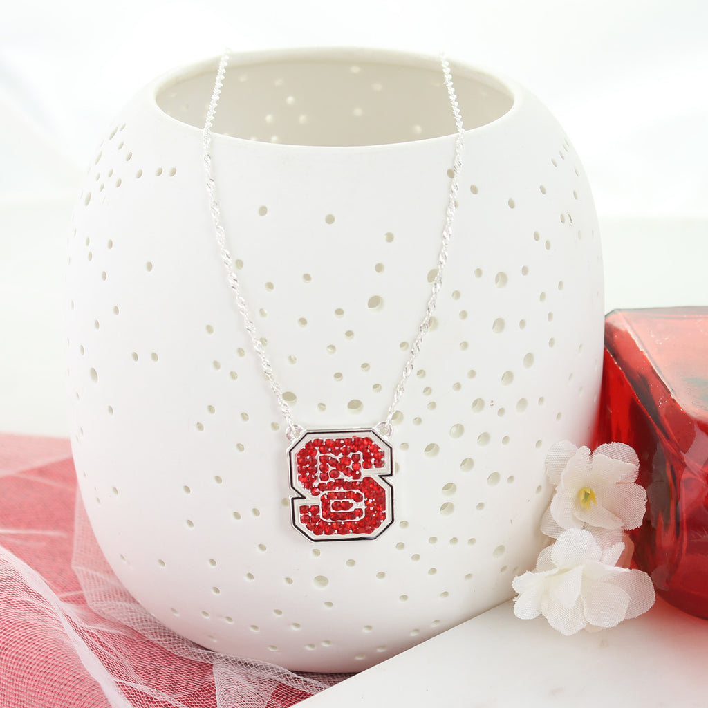 NC State Crystal Logo Necklace