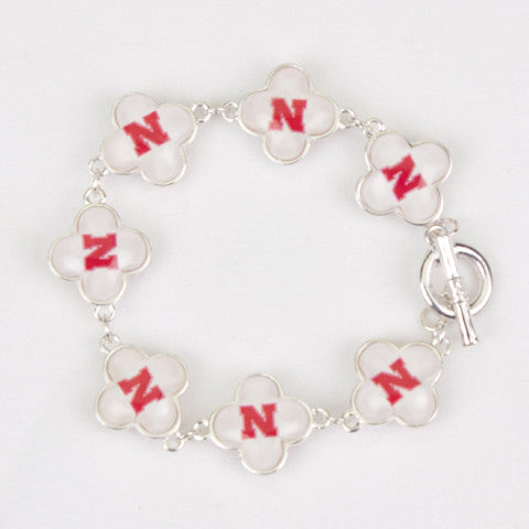 Seasons Jewelry Collegiate Nebraska Quatrefoil Bracelet