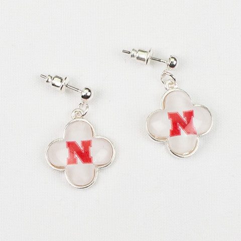 Seasons Jewelry Collegiate Nebraska Quatrefoil Earrings