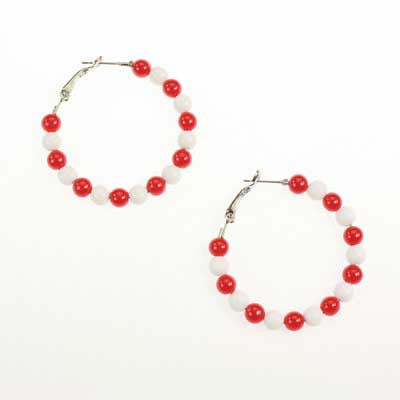 Seasons Jewelry Nebraska Beaded Hoop Earrings