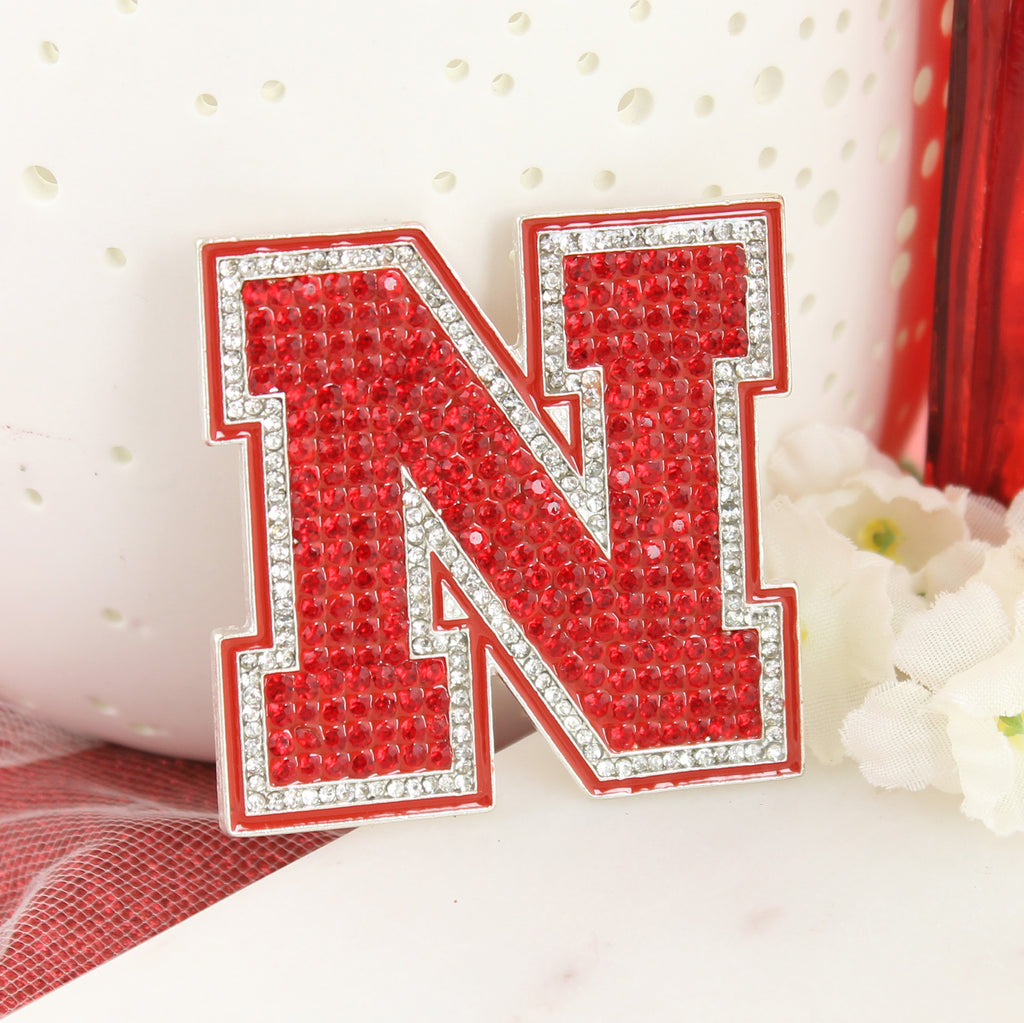 Nebraska Crystal Logo Pin