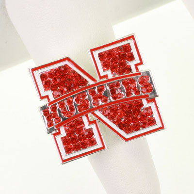 Seasons Jewelry Nebraska Crystal Logo Stretch Ring