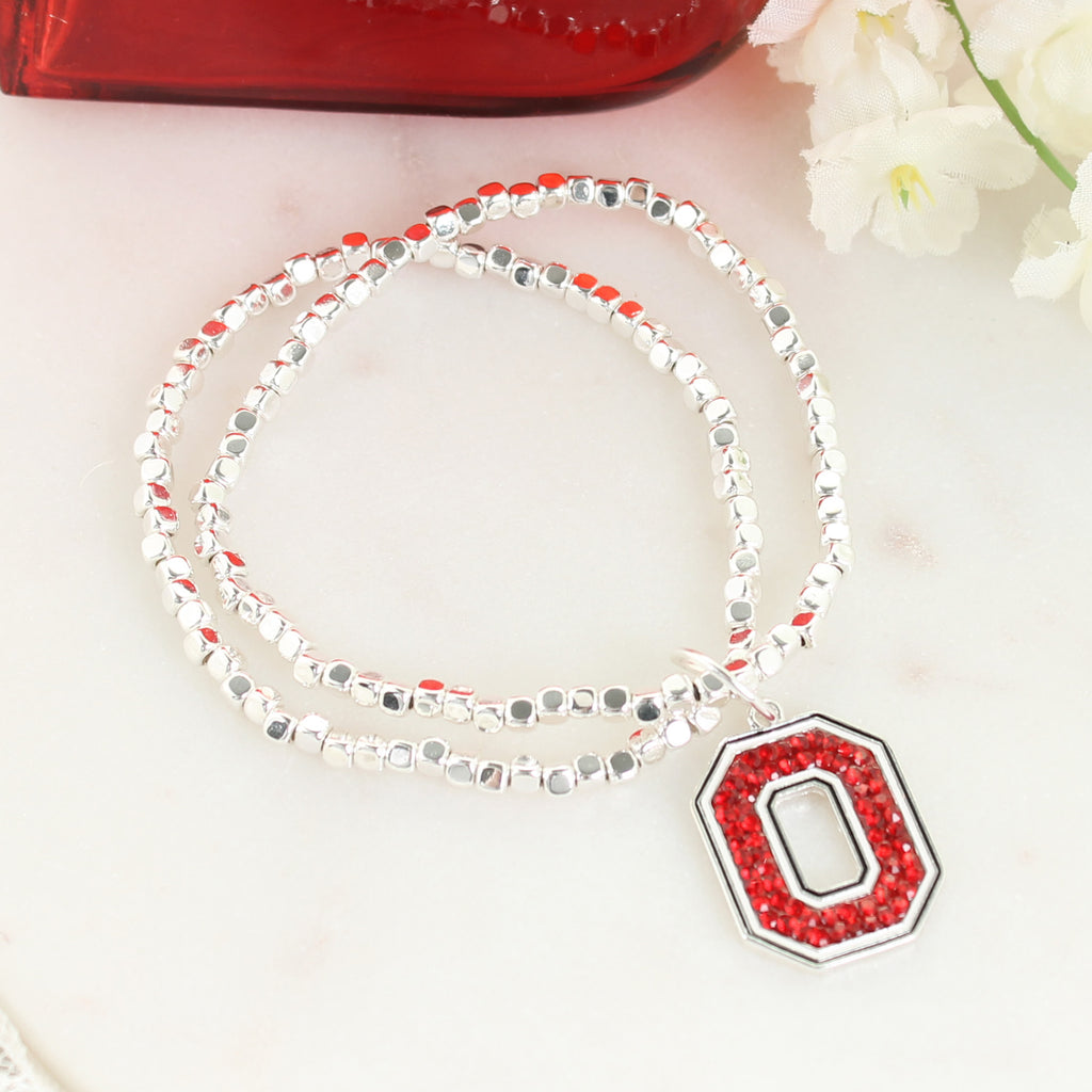 Ohio State Crystal Logo Stretch Bracelet
