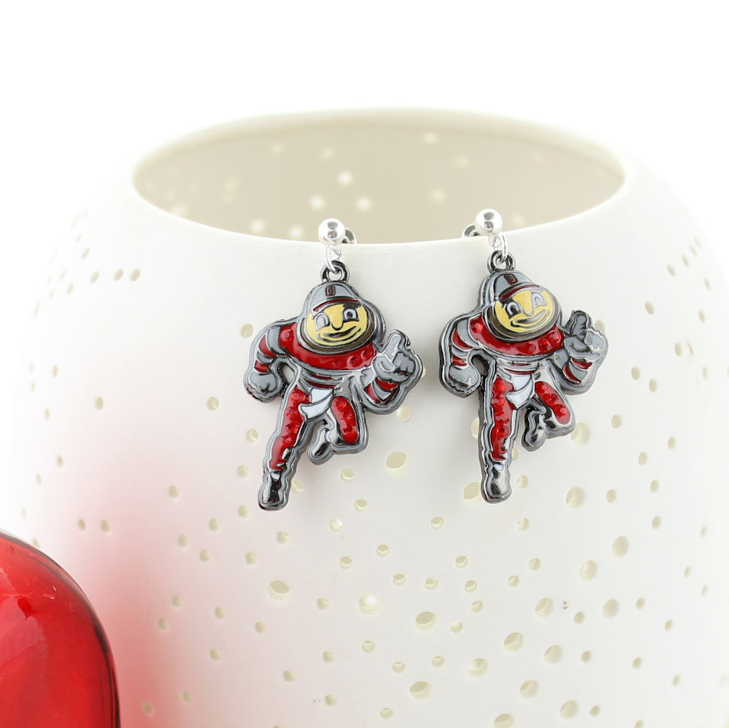 "Ohio State ""Brutus"" Crystal Logo Earrings"
