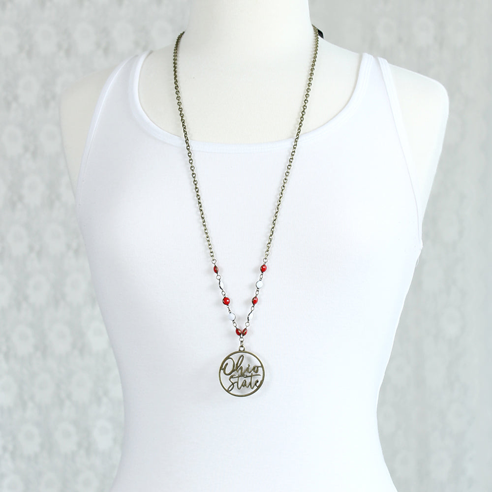 "34"" Ohio State Vintage Style Cutout Slogan Necklace"