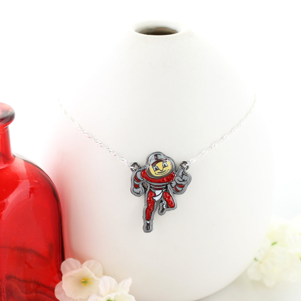 "16"" Ohio State ""Brutus"" Crystal Logo Necklace"