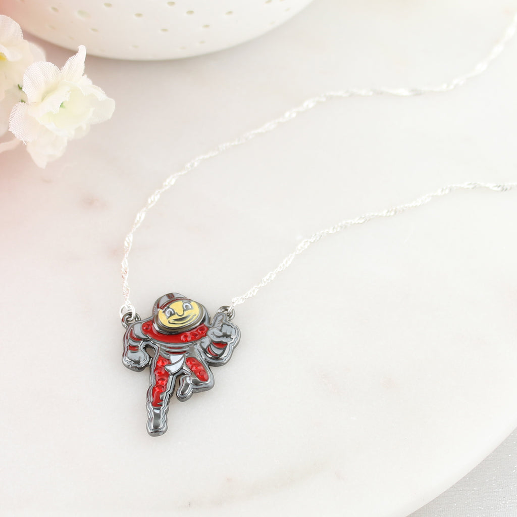 "Ohio State ""Brutus"" Crystal Logo Necklace"