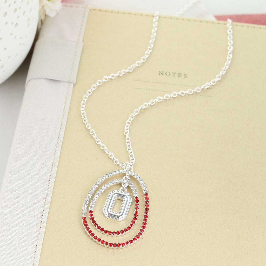 "34"" Ohio State Crystal Loop Necklace"