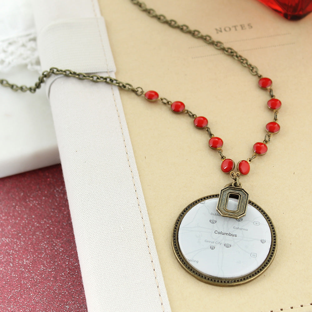 "34"" Ohio State Vintage Style Logo and Map Necklace"