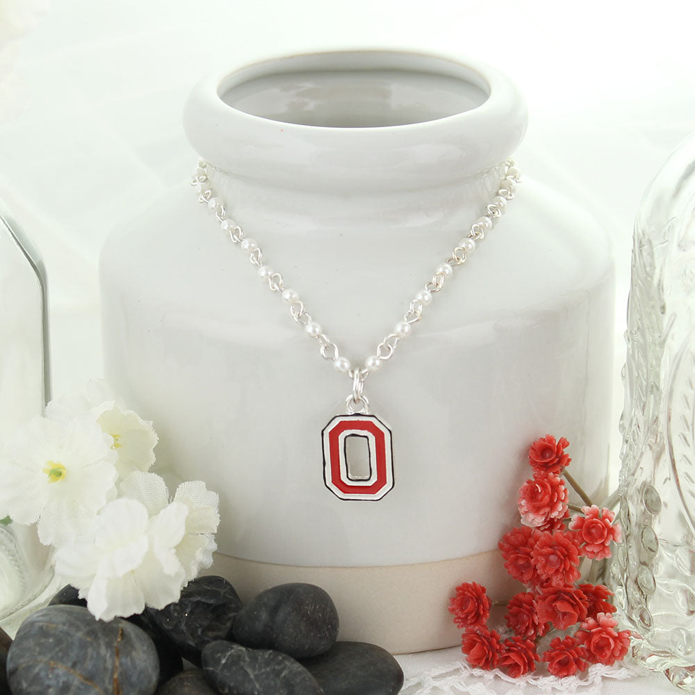 Ohio State Enamel Logo & Pearl Necklace