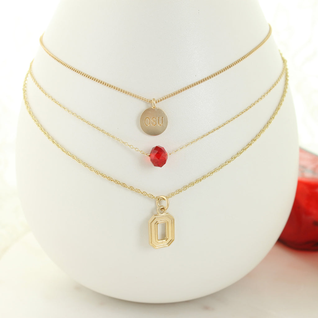 "16"" - 20"" Ohio State Matte Gold Logo Trio Necklace Set"