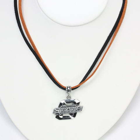 Oklahoma State Logo Double Suede Cord Necklcae