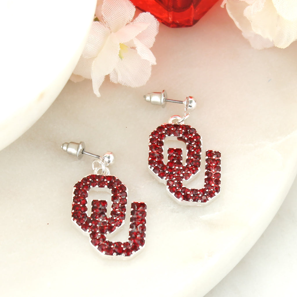 Oklahoma Crystal Logo Earrings