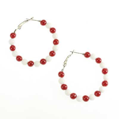 Seasons Jewelry Oklahoma Beaded Hoop Earrings