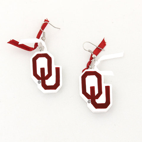 Oklahoma Painted Wood Logo with Ribbon Earrings