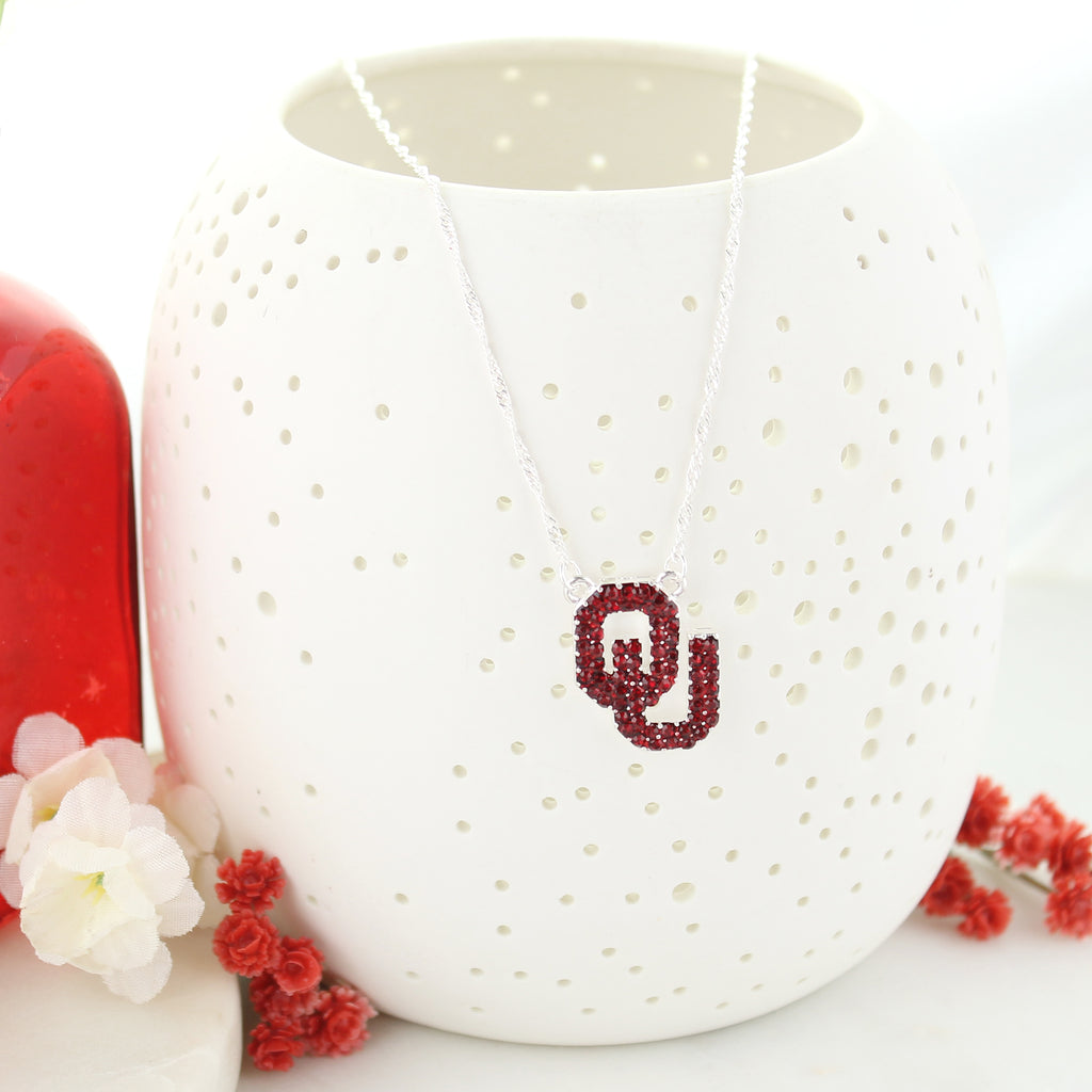 Oklahoma Crystal Logo Necklace