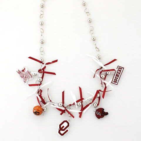 Oklahoma Painted Wood Logo with Ribbon Necklace