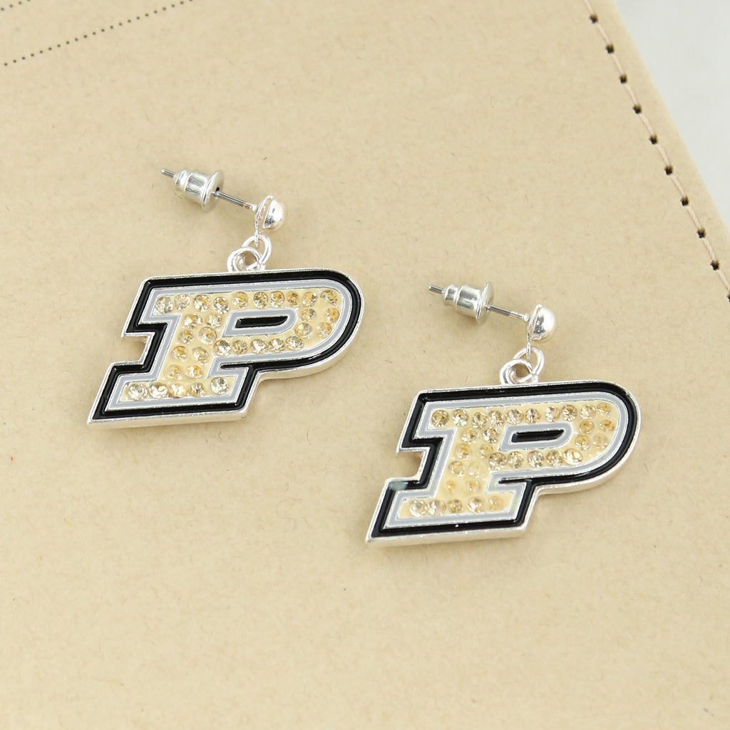 Purdue Crystal Logo Earrings