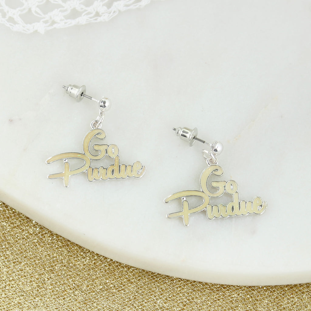 Purdue Slogan Earrings