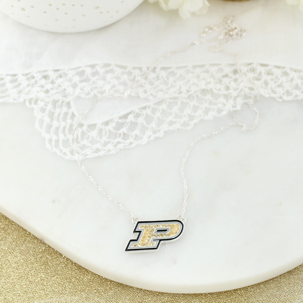 Purdue Crystal Logo Necklace