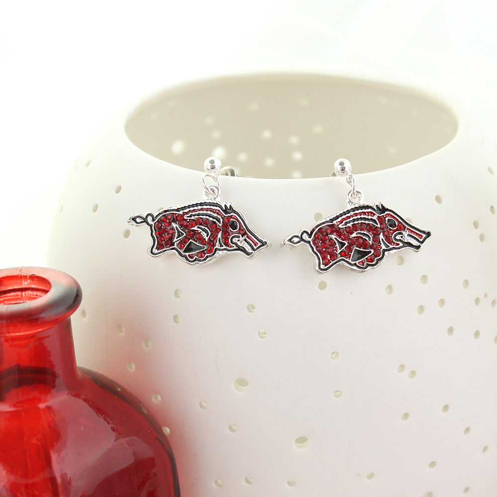 Arkansas Crystal Logo Earrings