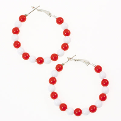Red & White Beaded Hoop Earrings