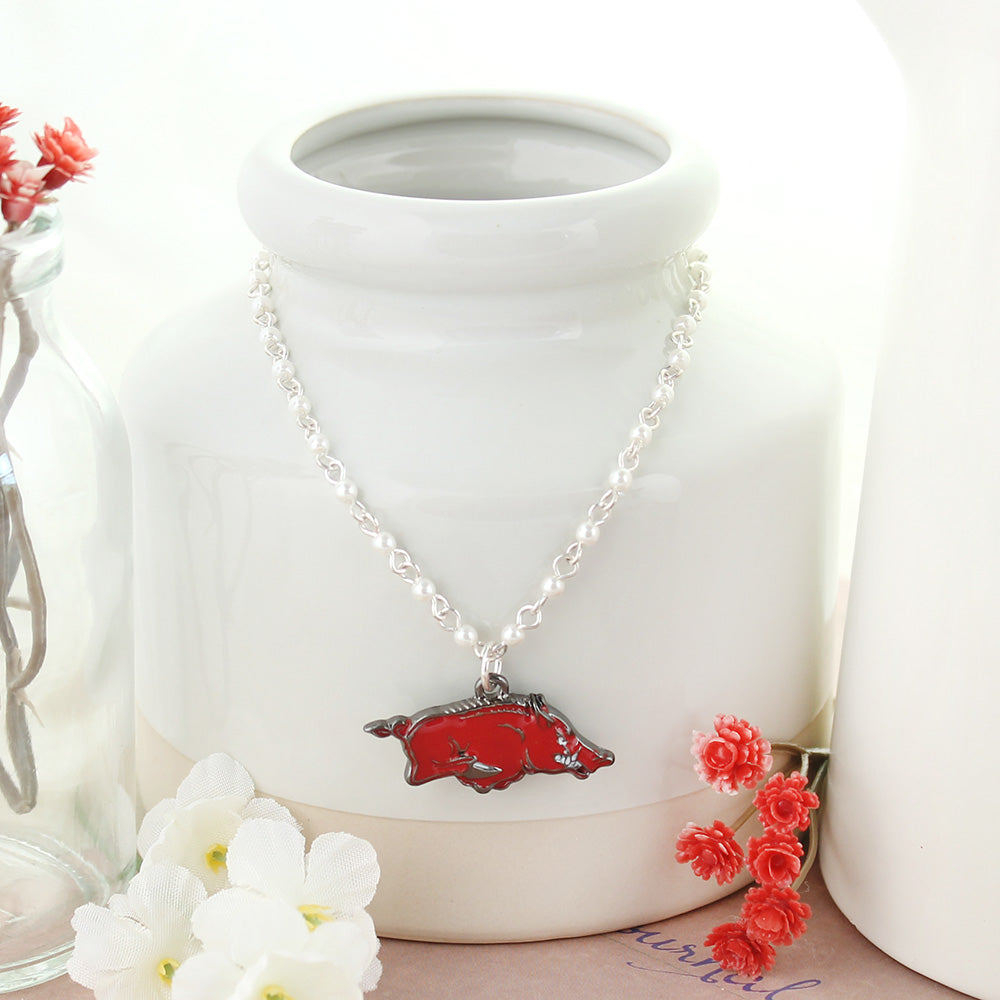 Arkansas Enamel Logo & Pearl Necklace