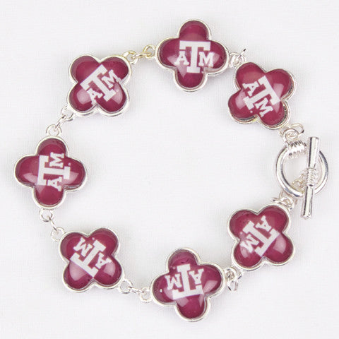 Seasons Jewelry Collegiate Texas A&M Quatrefoil Bracelet