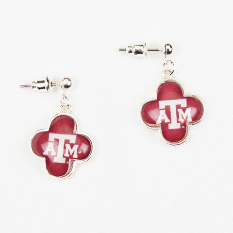 Seasons Jewelry Collegiate Texas A&M Quatrefoil Earrings