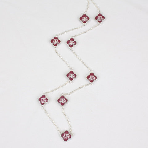 Seasons Jewelry Collegiate Texas A&M Quatrefoil Necklace