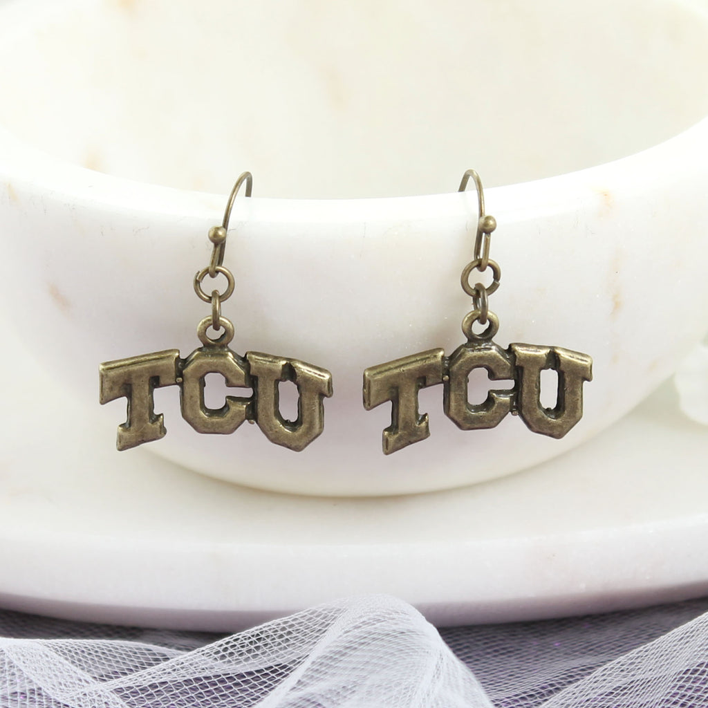 TCU Vintage Style Logo Earrings