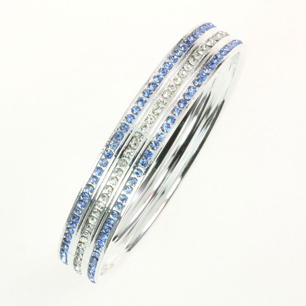 Light Blue Crystal Bangle Bracelet