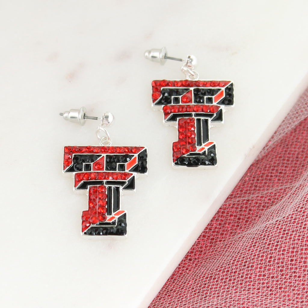 Texas Tech Crystal Logo Earrings