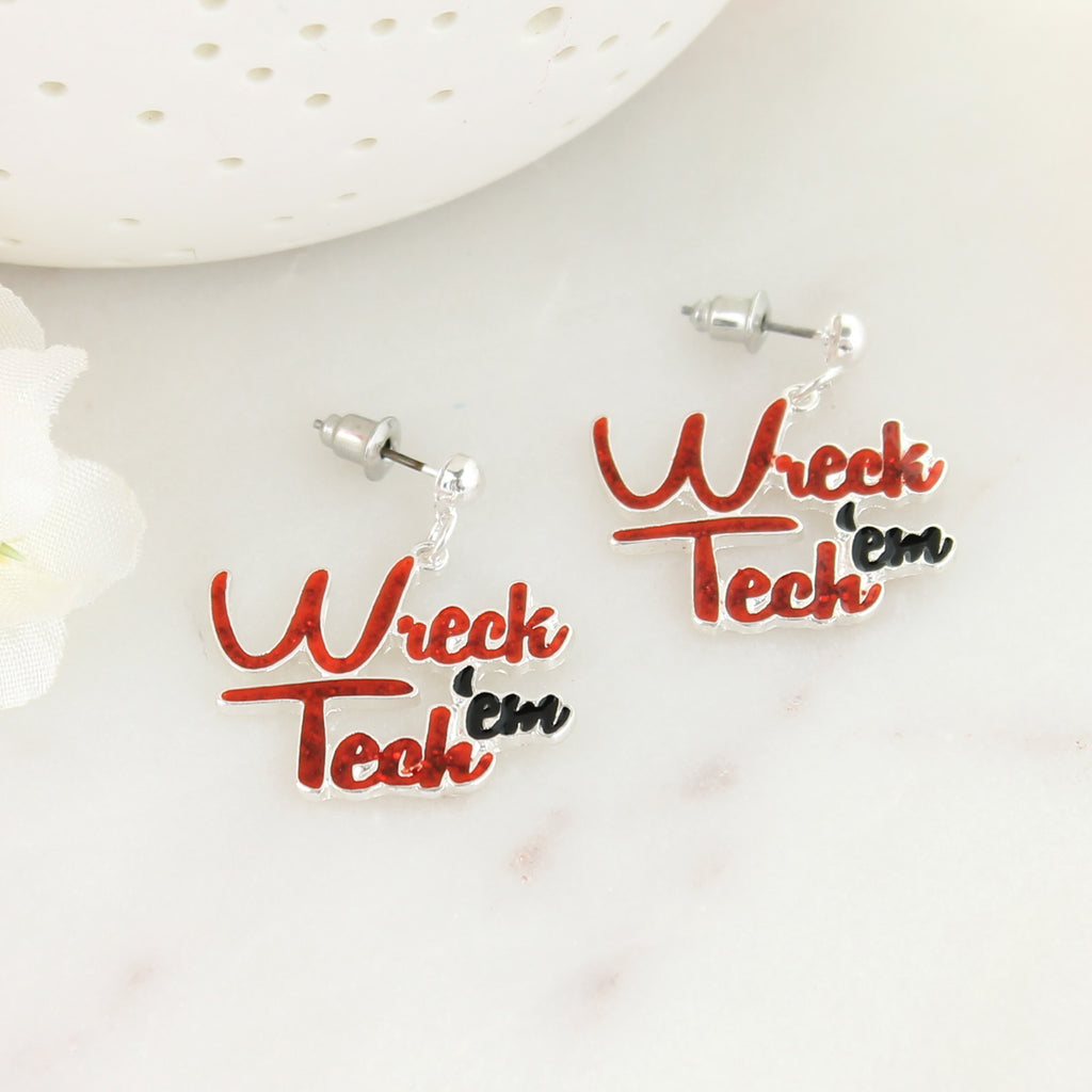Texas Tech Slogan Earrings