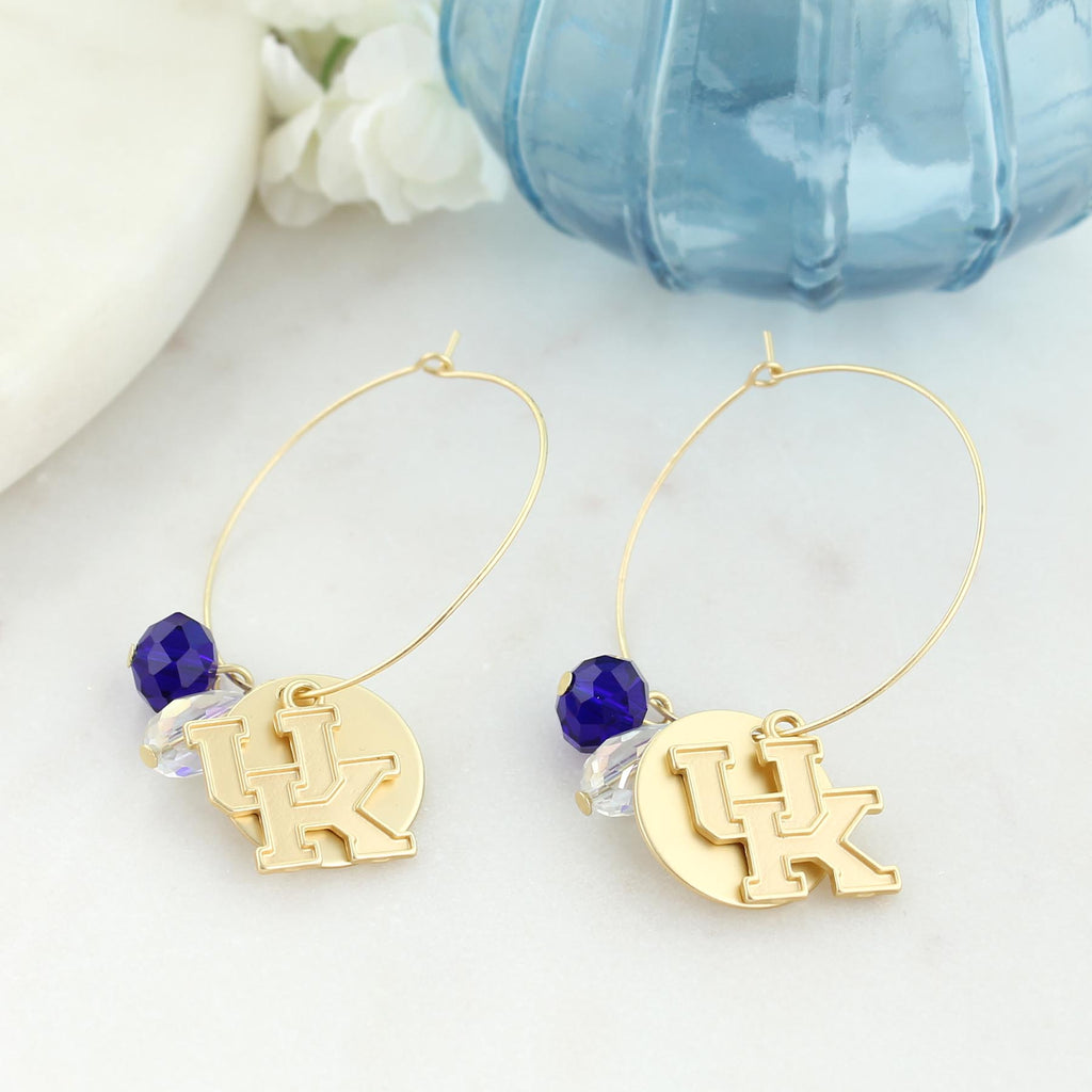 Kentucky Matte Gold Logo Hoop Earrings