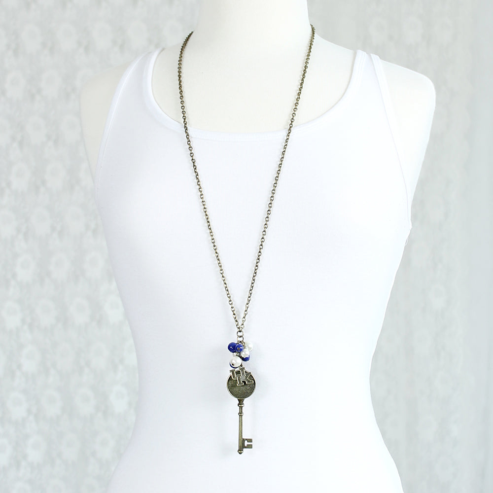 "36"" Kentucky Vintage Style Logo w/ Key and Pearl Cluster Necklace"