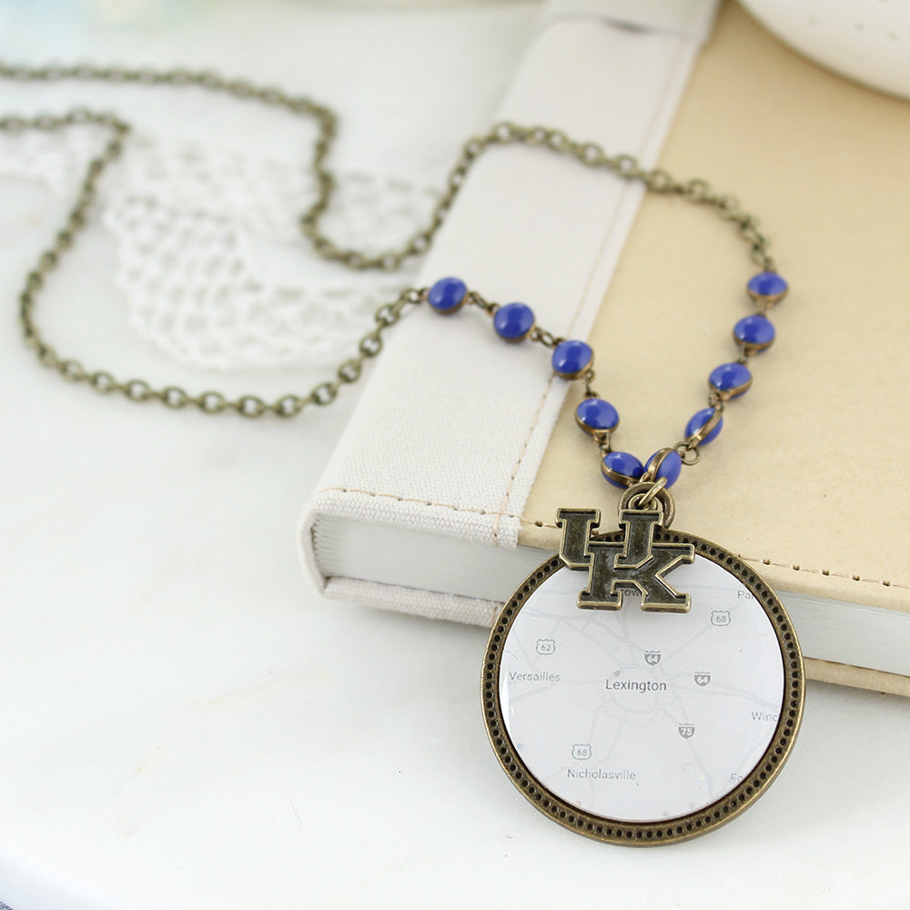"34"" Kentucky Vintage Style Logo and Map Necklace"