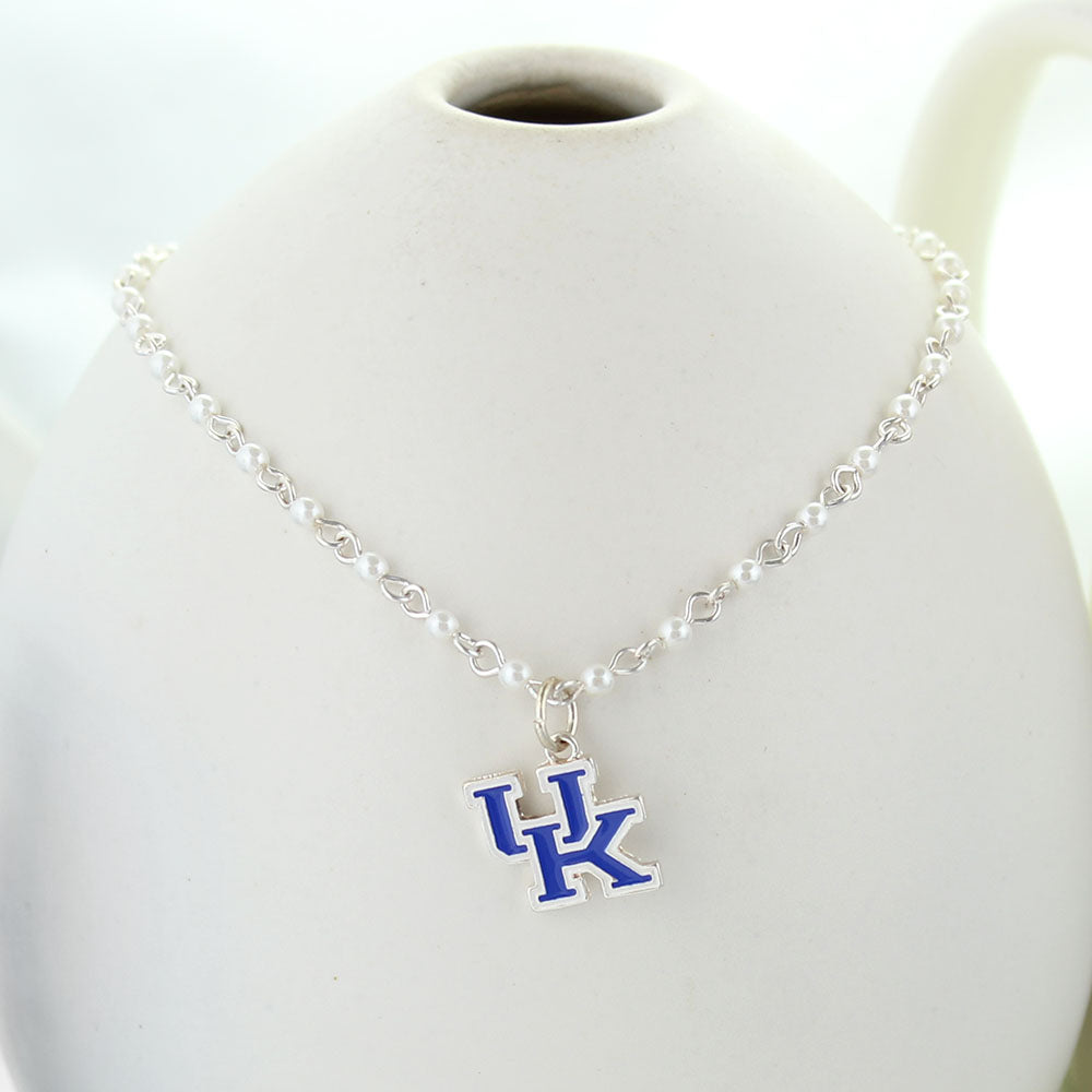 Kentucky Enamel Logo & Pearl Necklace
